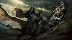 """""""... Frodo and Sam ... saw a shape, moving at a great speed out of the West, at first only a black speck ... above the mountain-tops, but growing, until it ... passed high above them. As it went it sent out a long shrill cry, the voice of a Nazgûl; but this cry no longer held any terror for them: it was a cry of woe and dismay, ill tidings for the Dark Tower. The Lord of the Ringwraiths had met his doom.""""  -  The Return of the King, LoTR Book 6, Ch 2, The Land of Shadow"""