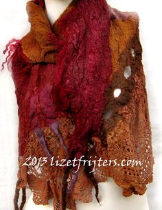 Brown and Maroon Multicolour Long Nuno Felt Scarf by lizetfrijters