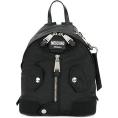 Moschino Backpack ($590) ❤ liked on Polyvore featuring bags, backpacks, black, flat bags, moschino backpack, zipper bag, zip bag and daypack bag