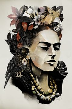 Frida Kahlo - there is just something about this piece that catches my eye. ღpwro