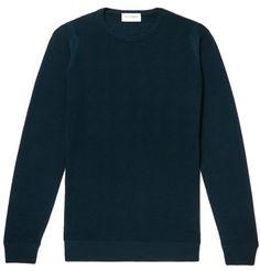 5b667e27 JOHN SMEDLEY SLIM-FIT HONEYCOMB-KNIT MERINO WOOL SWEATER - DARK GREEN. # johnsmedley #cloth. ModeSens Men