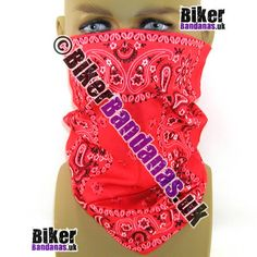 Red with Black and White Paisley Border Multifunctional Headwear / Neck Tube Bandana.  One of over 400 Styles for Men and Women