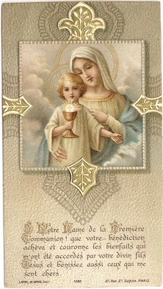 French Antique Holy Prayer Card Mary & Baby Jesus Litho with from Vintage Paper Attic