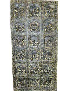 Antique Door Erotic Carved Wood Kamasutra Wall Panel