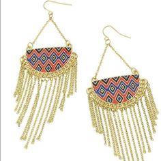 Tassle Earrings New navy blue and orange zig zag pattern earnings... Never worn Jewelry Earrings