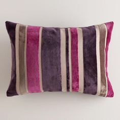 One of my favorite discoveries at WorldMarket.com: Fig and Coconut Stripe Velvet Lumbar Pillow