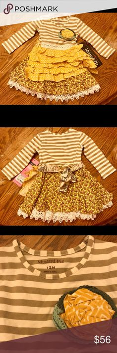 A sweet Dress for fall and winter. Size 12 months A super cute Dress from Mustard Pie. This will look cute on your princess for right now. Add so leggings and cute shoes and she's ready be the best dressed. This is a size 12 month. Thanks for visiting my closet. Let me know if you have any questions. Have a great day.💞🤗 Mustard Pie Dresses Casual