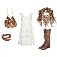 Cowgirl boots and a white dress