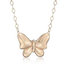 Ross-Simons - 14kt Yellow Gold Butterfly Pendant Necklace - #795990 For Emma or Me