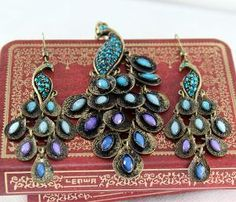 Blue precious stones peacock jewelryearring and by BeautyandLuck