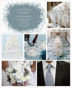 Frosty whites and pale blue winter wedding inspiration board