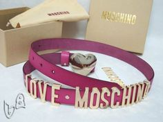 Moschino LOVE MOSCHINO Gold Small Leather Belts Pink
