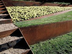 Landscaping Ideas 8 Surprising Ways to Use Corten Steel in a Garden is part of Modern landscaping - Corten steel looks good on fences, raised garden beds, and retaining walls Here are 8 surprising ways to use the weathered metal in a landscape Corten Steel Garden, Steel Retaining Wall, Retaining Wall Design, Landscape Architecture, Landscape Design, Garden Design, Architecture Design, Contemporary Landscape, Urban Landscape