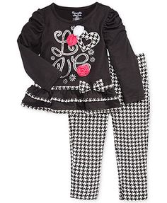 Nannette Little Girls' 2-Piece Houndstooth Top & Pants Set