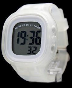 DW358D Datum Alarm-Hintergrundbeleuchtung Weiß Lünette Silikon White Band Unisex Digitaluhr