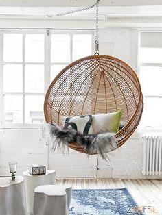 Hanging Rattan Bowl Chair in Natural (Chair) Wicker Headboard, Wicker Bedroom, Deco Ethnic Chic, Boho Chic, Interior Design London, Luxury Interior, Wicker Shelf, Wicker Man, Wicker Dresser