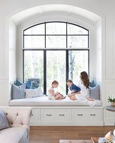 Arched window seat The arched window seat is one of our most common family hang . - Arched window seat The arched window seat is one of our most common family hang out spots, and has - Bedroom Windows, Living Room Windows, Interior Windows, Window Seats Bedroom, Large Living Rooms, Window Benches, Bay Window Seats, Window Seat Storage, The Window