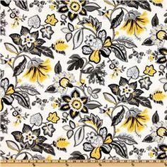 yellow and black floral fabric - Google Search
