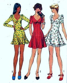 Vintage 70s Simplicity 5737 Flared Mini Dress Sewing Pattern B33.5 13/14