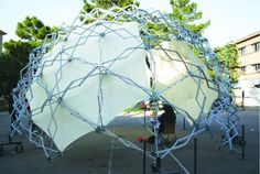 Deployable Geodesic Dome by IA- INTELLIGENT SYSTEM IN ARCHITECTURE . Leith Aitchisons geodesic and polygon construction system http://m.instructables.com/id/scalable-polygonal-and-polyhedral-geometric-constr/ http://www.domerama.com/dome-basics/geodesic-dome-hub-connectors/domedimensions-geodesic-hubs/ https://plus.google.com/app/basic/118063596629361321110/about https://m.facebook.com/leith.aitchison