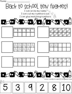Back to School Ten Frames Practice Sheets by Rowdy in Room 300 Kindergarten Math Activities, Preschool Math, Preschool Worksheets, Math Classroom, Teaching Math, Preschool Spanish, Math Resources, Classroom Ideas, Beginning Of School