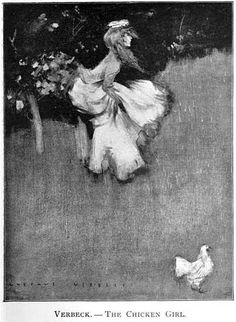 Painting by Gustave Verbeek. The Chicken Girl.
