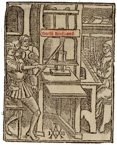 This 1507 woodcut is one of the earliest illustrations of a printing press in… Johannes Gutenberg, Satanic Rituals, Book Press, Landsknecht, Medieval Manuscript, Printing Press, Art Graphique, Handmade Books, Woodblock Print