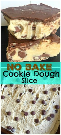 Stupidly easy recipe for a No Bake Cookie Dough Slice with just a handful of ingredients! Soft, vanilla cookie dough topped with milk chocolate Bake Sale Treats, Bake Sale Recipes, Easy Baking Recipes, Best Puppy Chow Recipe, Puppy Chow Recipes, Salted Chocolate, Melting Chocolate, Chocolate Chip Cookies, Chocolate Cake