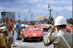 Military very much to the fore…Fangio Maserati 300S # 2, Castellotti Ferrari 290MM # 10