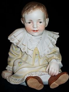 Antique GERMAN HERTWIG PIANO BABY DOLL GIRL Bisque Figurine Figure Large | eBay