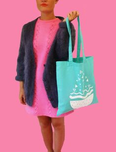 Mint Screen Printed Cotton Tote Bag by Kromabykate on Etsy