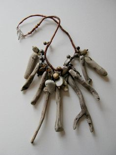 driftwood sticks and beach front pebble necklace with by judycorlett by tisha Driftwood Jewelry, Driftwood Crafts, Driftwood Seahorse, Driftwood Ideas, Sea Jewelry, Jewellery Diy, Bone Jewelry, Fabric Jewelry, Wooden Jewelry
