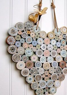 Reciclado de papel en espiral corazón 12 x 12 Natural tonos