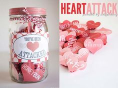 Best Mason Jar Valentine Crafts - Heart Attack Mason Jar - Cute Mason Jar Valentines Day Gifts and Crafts | Easy DIY Ideas for Valentines Day for Homemade Gift Giving and Room Decor | Creative Home Decor and Craft Projects for Teens, Teenagers, Kids and Adults http://diyprojectsforteens.com/mason-jar-valentine-crafts