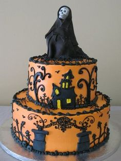 Grim reaper cake, perfect for any over the hill birthday in October with the orange or could do grey or steel blue background.