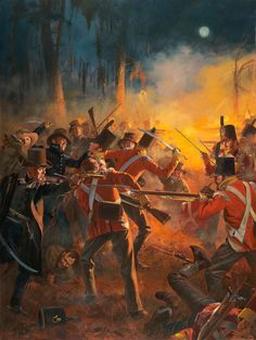 """Weeks before his stunning victory at the battle of New Orleans , General Andrew Jackson decided to attack the camp of the approaching British vanguard. On the night of Dec 23, 1814 Jackson lead a three pronged assault in the evening fog . Jackson allegedly exclaimed , """"By the Eternal they shall not sleep on our soil."""" A vicious hand to hand night battle ensued in the open fields and woods , part of which involved a flanking attack by Coffee's Tennessee Militia which is depicted here."""