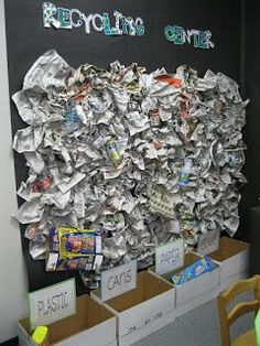 interactive recycling bulletin board - can have items to put into baskets.  also have a checklist for them to find the items on the board.