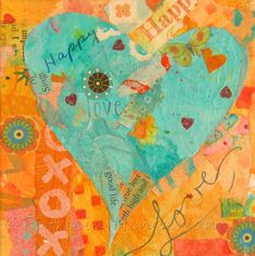 """LOVE Original Turquoise and Orange Tiny Heart Paper Collage 4"""" X 4"""" X 1.5"""" on canvas Your Paintings, Beautiful Paintings, Watercolor And Ink, Watercolor Paintings, Painted Paper, Hand Painted, Apple Painting, Paper Collage Art"""