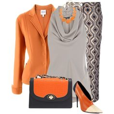 A fashion look from September 2013 featuring brown shirts, red jacket and brown pants. Browse and shop related looks. Dressy Pants, Brown Pants, Office Fashion, Orange, Pants Outfit, Plus Size Outfits, Polyvore Fashion, Fashion Inspiration, Fashion Looks
