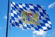 Bavarian Flag ~ Munich, Germany ~ Capitol of the State of Bayern (Bavaria)                                                                                                                                                     More