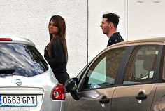 Messi arrives with his long-term partner Antonella Roccuzzo to pick their son up from school on Thursday