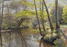 Peder Mork Monsted - Tranquil Waters, 1912, oil on...