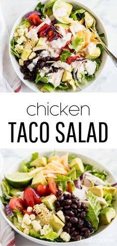 Shredded chicken taco salad loaded with lettuce, black beans, grilled corn, avocado, tomatoes and bell peppers. Topped with a creamy ranch salsa dressing. Shredded Chicken Tacos, Slow Cooked Chicken, Oven Baked Chicken, Fried Chicken, Chicken Casserole, Chicken Soup, Chicken And Biscuits, Make Ahead Lunches, On The Go Snacks