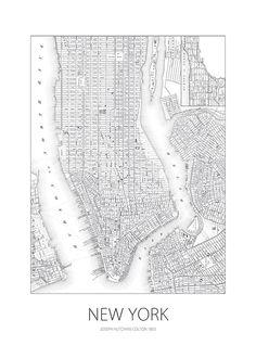 77538 New york map  Sviluppo della rete partendo dalla pianta reticolare della città di New York.