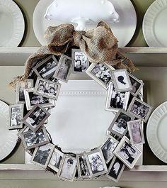 vintage look family photo wreath
