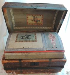 Antique Doll Trunk w Lidded Tray, Dome Top Trunk, French Doll Trunk, Wood Trunk