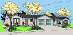 Duplex Plan chp-43432 at COOLhouseplans.com | 3 br 2 ba.  Use 3rd br as office.
