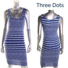"""Final Price unless bundled 3 Dots dress Casual knee length nautical striped dress, exclusive to Bloomingdales by Three Dots, pullover style, fully lined, great quality. Length:39"""" Three Dots Dresses"""