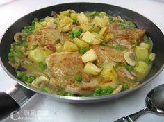 焗雞腿配白酒蘑菇汁【快速西餐】Roast Chicken with Bacon