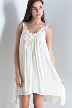 Crochet Lace Detail Handkerchief Dress - Natural